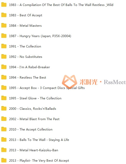 德国重金属Accept乐队73张CD+6LP+1DVD歌曲(1979-2019)合集[MP3/9.76GB]百度云网盘下载-米时光