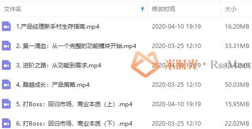 产品经理教程-产品经理成长之路视频教程合集[MP4/150.94MB]百度云网盘下载-米时光
