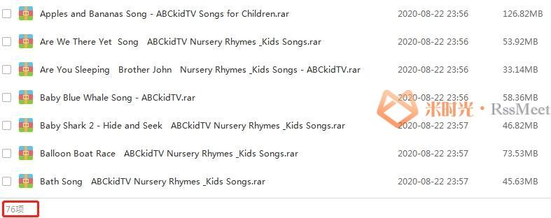 《ABC Kid TV经典儿歌童谣启蒙》合集百度云网盘资源分享下载(76个歌曲视频)[MP4/1080P/6.56GB]-米时光