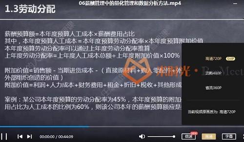 《人力资源量化管理和数据分析方法大全》视频课程合集百度云网盘资源分享下载[MP4/535.66MB]-米时光